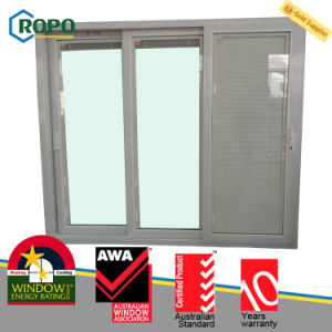 Awa Member UPVC/PVC Plastic 3-Track Sliding Glass Door with Blinds Design pictures & photos