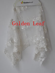 Mixed Embroidery Special Embroidery for 3mm Spangle Pure White Nylon Mesh Wedding Dress (SLS2131)