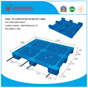 1200*1000*140mm Heavy Deck Rackable Plastic Pallet (ZG-1210B 4 steels) pictures & photos