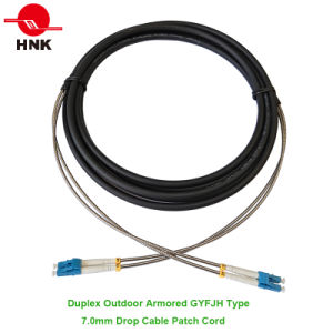 7.0mm Duplex Armored Outdoor Gyfjh Type Fiber Optic Patch Cord pictures & photos