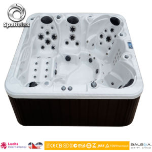 White Stone Marble Whirlpool Appliances Wholesale Wooden Foot Tub pictures & photos