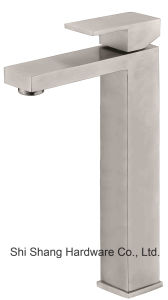 Stainless Steel Sanitary Bathroom Lavatory Sqaure Vessel Basin Water Faucet pictures & photos