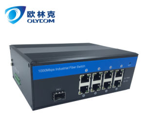 10/100/1000m 1 Fiber + 8UTP LC Industrial Fiber Switch with Poe external power supply pictures & photos