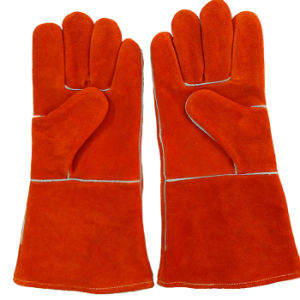 High Quality Cow Split Leather Welding Gloves with Kevlar Stitching pictures & photos