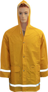 Yellow PVC/Polyester/PVC Longcoat with Reflective Tape pictures & photos