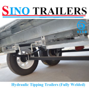 Galvanized 12*6 Hydraulic Tilting Trailer with Electric Brake pictures & photos