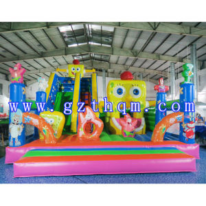 Child Cartoon Inflatable Jumping Bed/0.55mm PVC Inflatable Bouncer Castle pictures & photos