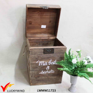Lidded Farm Distressed Antique Wooden Bin Box pictures & photos