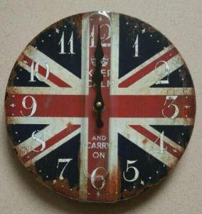 Round Shape Antique Clock Wooden Clock Desk Clock pictures & photos