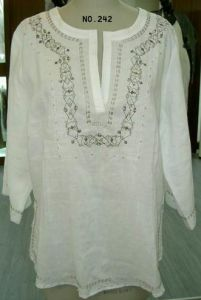 Embroidery/Beaded Linen Blouse (242)