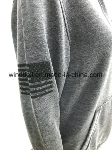 Fashionable Plain Vintage Fleece Hoody for Women with Burn-out pictures & photos