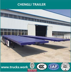 3axles portable Flat Bed Trailer Trasnportation Container Trailer pictures & photos