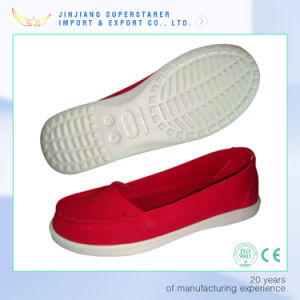 EVA Red Color Slip on Casual Shoes for Women pictures & photos