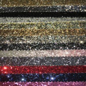 Painted Design Glitter PU Leather for Shoes, Bags, Decoration (HS-D01) pictures & photos