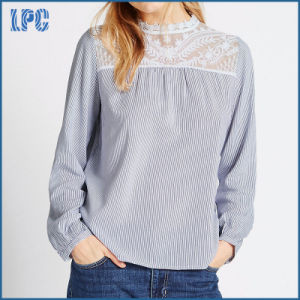 Long Sleeve Lace Yoke Chiffion Blouse pictures & photos