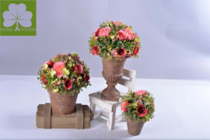 Plastic Flowers Rose and with Boxwood Ball Topiray in The Cement Pot for Christimas Gift pictures & photos