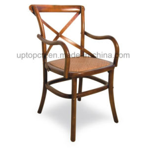 Cross Back Square Wooden Seat Restaurant Chair with Arm (SP-EC145) pictures & photos