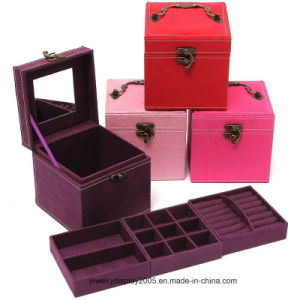 Suede Leather Jewelry Gift Box 3 Layers Jewellery Display pictures & photos
