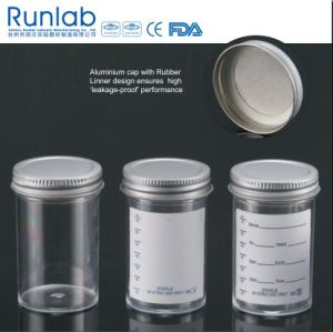 FDA Registered and CE Approved 100ml Sample Containers with Metal Cap and Plain Label pictures & photos