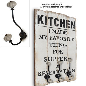 Wooden Wall Plaque / Metal & Ceramic Knob Hook pictures & photos