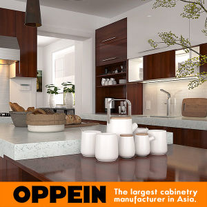 Modern Brown Wood Melamine Modular Kitchen Cabinet with Island (OP15-M08) pictures & photos