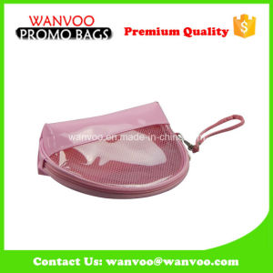 Dumpling Shape Clear PVC Stiching Pink Cosmetic Bag with Handle pictures & photos