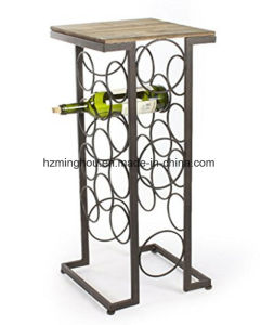 Rectangular Metal Top 11 Bottle Wine Display Rack for Home pictures & photos