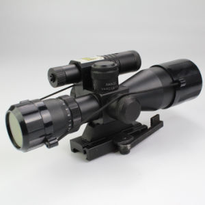 Compact 2.5-10X40 Rifle Scope Red Green Mil-DOT Reticle with Side Attached Green Laser Sight Scope with Quick Release Mount pictures & photos