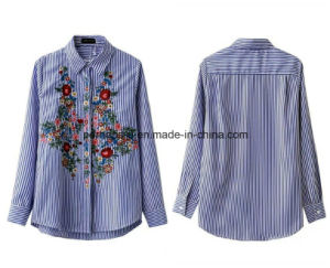 Wholelsale Women Garment Fashion Wild Striped Shirt with Embroideried Flowers pictures & photos