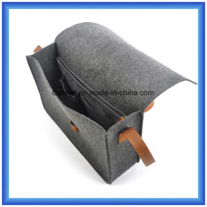 Factory Make Eco-Friendly Wool Felt Casual Messenger Bag, Hot Promotion Gift Shopping Tote Shoulder Bag with PU Leather Belt