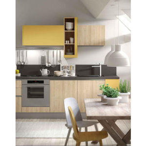 Small Kitchen furniture Straight-Line Modern Style Wood Kitchen Cabinet pictures & photos