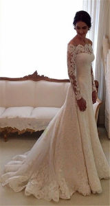 off Shoulder Wedding Gown Lace Bridal Wedding Dress Ld16316 pictures & photos
