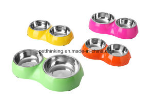Double Pet Bowls for Dog and Cat with Melamine and Stainless Steel pictures & photos