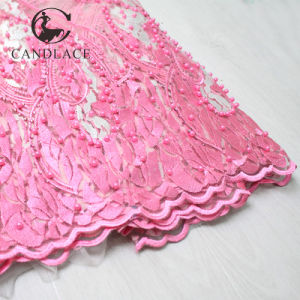 Pink African Tulle Lace Fabric with Beads pictures & photos