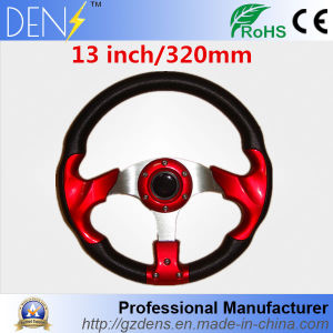 "13"" 320mm 3 Spoke 6-Hole Rimmed PU Leather Steering Wheel pictures & photos"