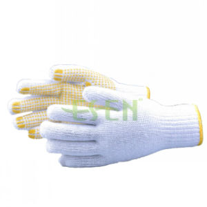 Most Popular Yellow DOT 26cm PVC Dotted Cotton Working Glove pictures & photos