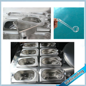 Double Pan Ice Cream Pan Machine with 12 Fruit Containers pictures & photos