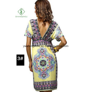 Newest Fashion Large Size Women Bohemia Printed Sexy Beach Dress pictures & photos
