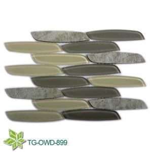 Green Water Jet Glass Mix Tiles Mosaic, Wall Tiles Mosaic (TG-OWD-899) pictures & photos