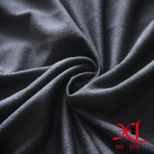 Dark Knitted Peach Polyester Suede Fabric for Garment/Boots pictures & photos