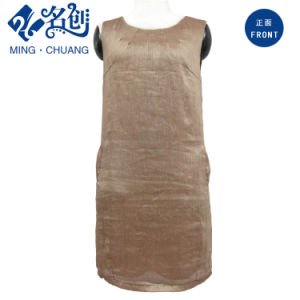 Brown Flax Rear-Zipper Pocket Newstyle Fashion Ladies Straight Dress pictures & photos