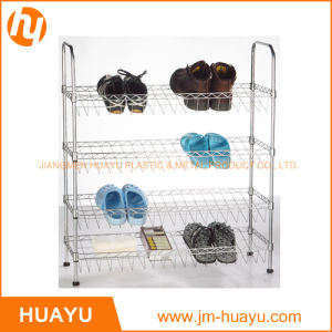 Four Tier Chrome Plated Wire Shoe Rack Shoe Shelving pictures & photos