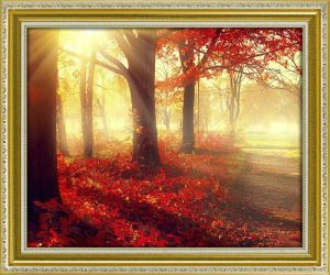 Modern Home Decoration Canvas Wall Art Sunshine in The Forest Red Trees Autumn Landscape Oil Painting Canvas Giclee Printings