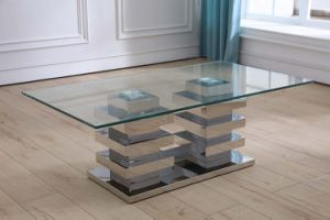 Strong Stainless Steel Silver Base Coffee Table with Clear Glass pictures & photos