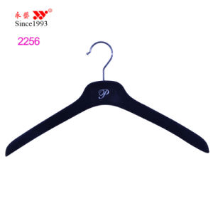 Silver Logo Embossed Custom Clothes Shop Display Female Velvet Hanger pictures & photos