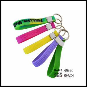 Silicone Wrist Band Silicone Keychain Wristband Keyring Rubber Key Chain pictures & photos