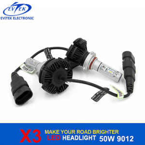 Newest Generation X3 3000lm 9012 H7 H11 H4 Car LED Headlight 6000K with Philips-Zes LED Chips pictures & photos