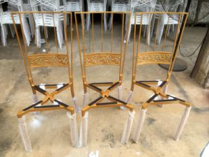 Modern Gold Throne Royal Napoleon Metal Chairs for Wedding pictures & photos