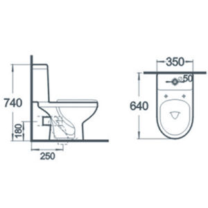 Sanitary Ware Bathroom Water Closet Two Piece Ceramic Toilet pictures & photos
