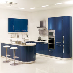 Custom Made Blue High Glossy UV Kitchen Cabinet Furniture pictures & photos